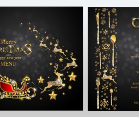 Black christmas with new year menu template vector 01