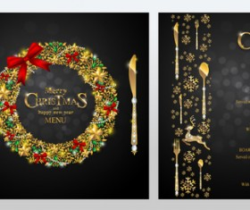 Black christmas with new year menu template vector 02