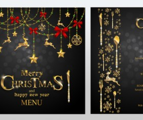 Black christmas with new year menu template vector 03