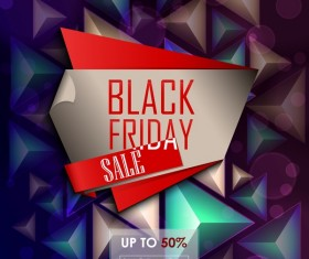 Black friday big sale label with 3D triangle background vector