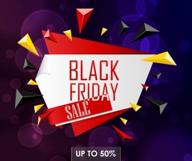 Black friday big sale label with purple background vector