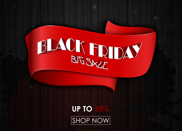 Black friday big sale ribbon banner with wooden background vector