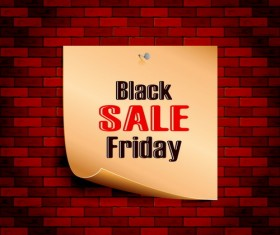 Black friday sale on brick wall background vector