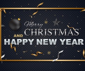 Black textured new year with chrismtas background vector