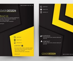 Black with yeallow brochure cover template vector