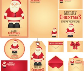 Blank christmas card with tag and postcard vector