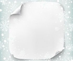 Blank paper with chrismtas snow background vector