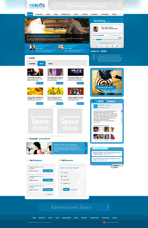 Blog website PSD template blue styles