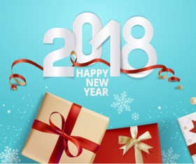 Blue 2018 new year background with gift vector 03