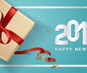 Blue 2018 new year background with gift vector 04