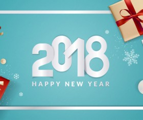 Blue 2018 new year background with gift vector 06