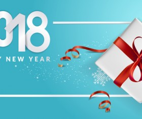 Blue 2018 new year background with gift vector 07