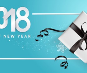 Blue 2018 new year background with gift vector 09