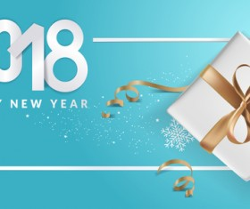 Blue 2018 new year background with gift vector 11