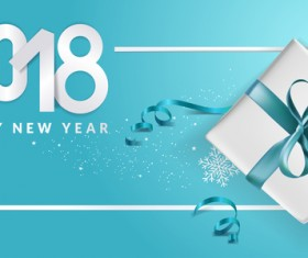 Blue 2018 new year background with gift vector 13