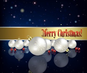 Blue christmas background with baubles vector 01