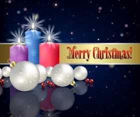 Blue christmas background with candle and decorations vector