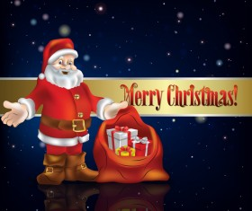 Blue christmas background with decorations and santa claus vector