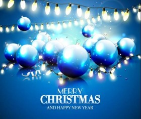 Blue christmas balls with light bulb decor vector