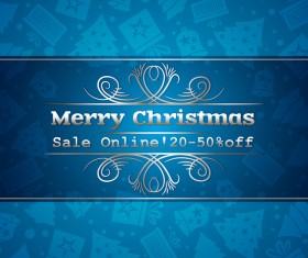 Blue christmas discount sale background vector 01