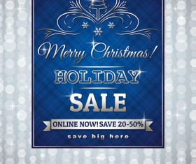 Blue christmas discount sale background vector 02