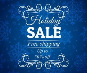 Blue christmas discount sale background vector 04