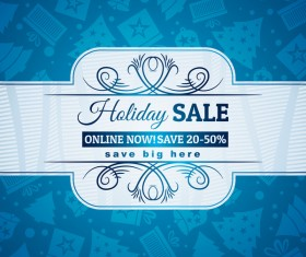 Blue christmas discount sale background vector 05