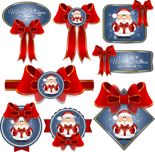 Blue christmas labels with red bows vector