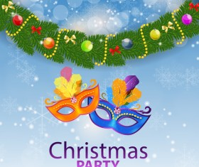 Blue christmas party poster vector template 15