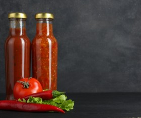 Bottled chili sauce with tomato sauce Stock Photo