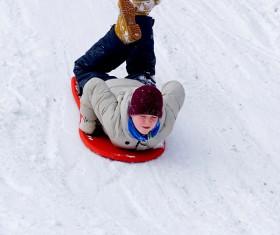Boy playing skis Stock Photo