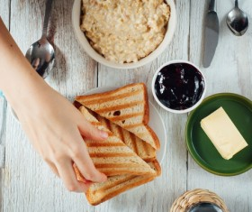 Breakfast bread with butter and jam Stock Photo