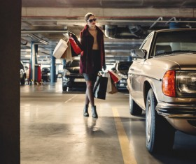 Car park fashion shopping woman Stock Photo