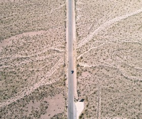 Cars driving on the desert highway Stock Photo