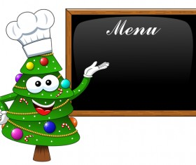 Cartoon christmas tree cook with menu vector