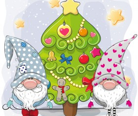 Cartoon christmas tree with xmas elements vector 15