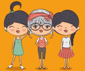 Cartoon cute girls vector illustration 01