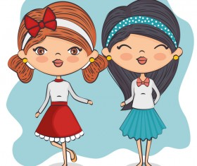 Cartoon cute girls vector illustration 02