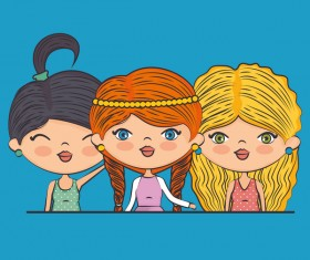 Cartoon cute girls vector illustration 04