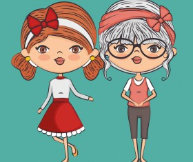 Cartoon cute girls vector illustration 05