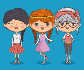 Cartoon cute girls vector illustration 06