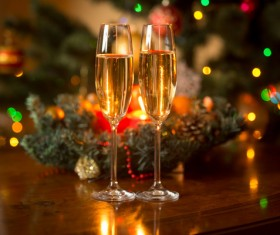 Champagne on Christmas night table Stock Photo