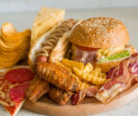 Cheese hamburger fast-food fried chicken and potato chips Stock Photo