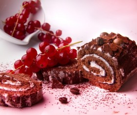 Cherry black forest cake roll Stock Photo