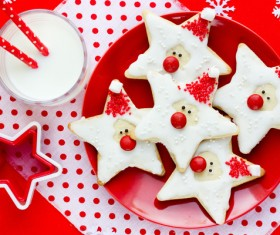 Cherry dotted star cookies Stock Photo