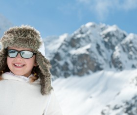 Children having fun in the ski resort Stock Photo