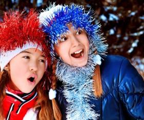 Children having fun outdoors in winter Stock Photo 02