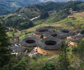 China Fujian Tulou architectural landscape Stock Photo