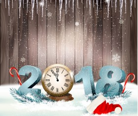 Christmas background with 2018 new year and clock wooden background vector