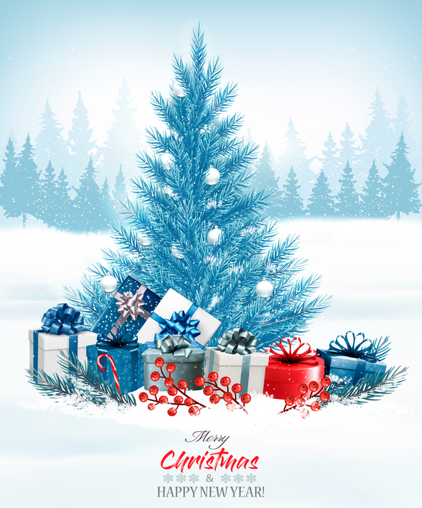 Christmas background with colorful gift boxes and blue tree vector